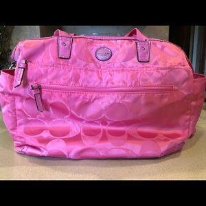 Coach pink signature diaper bag!